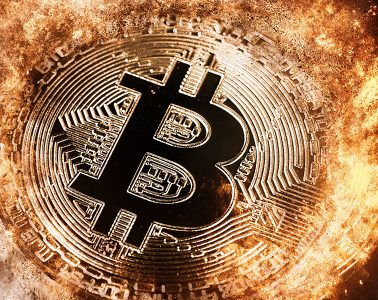 Bitcoin smoke and fire