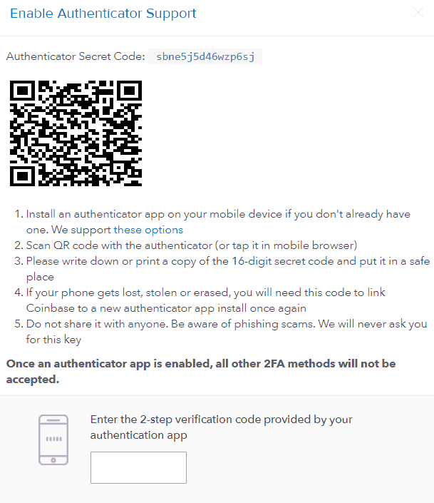 Coinbase authentication