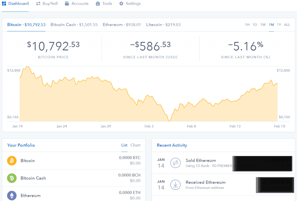 Coinbase review - Coinbase dashboard