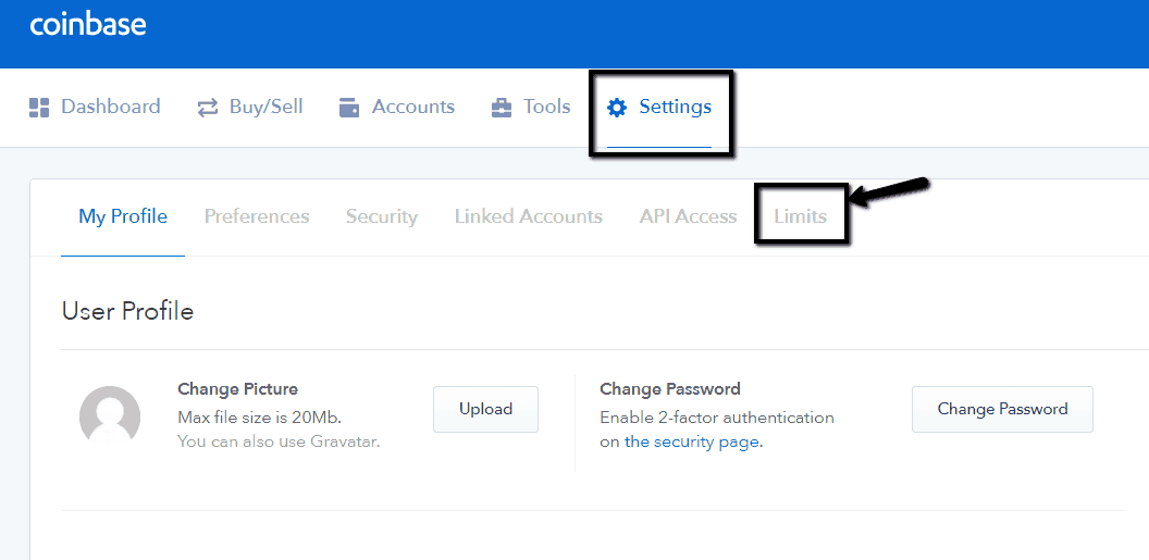 Coinbase - Limits settings