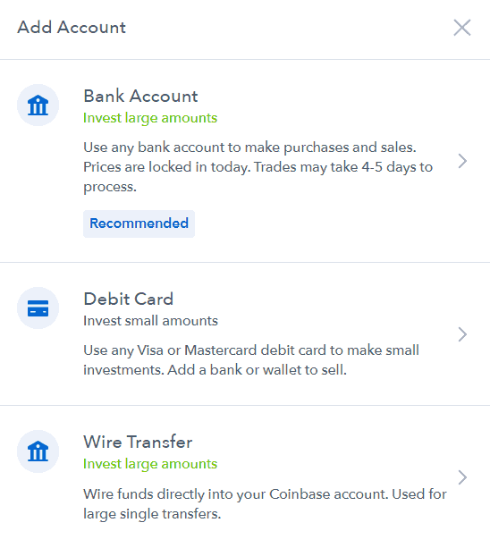 Coinbase - payment methods
