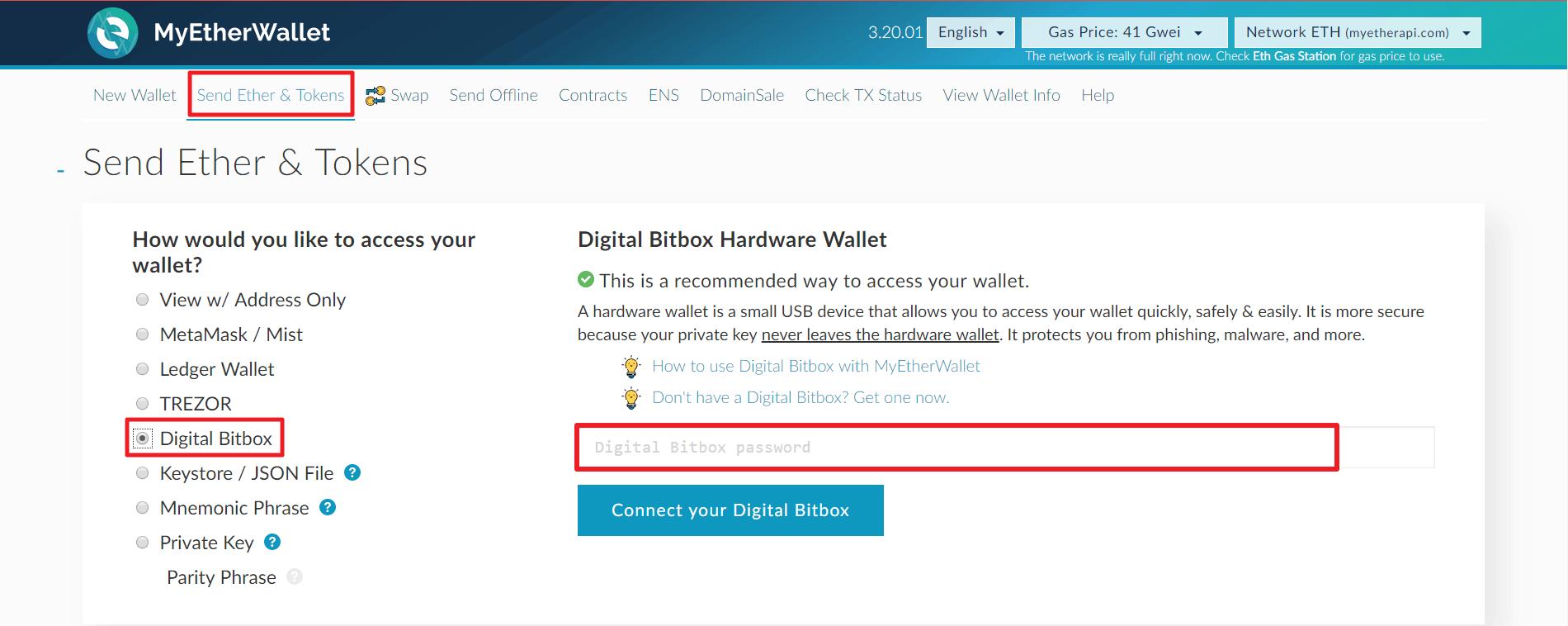 Digital Bitbox MyEtherWallet Integration