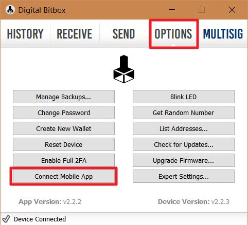 Bitbox Mobile App Setup a