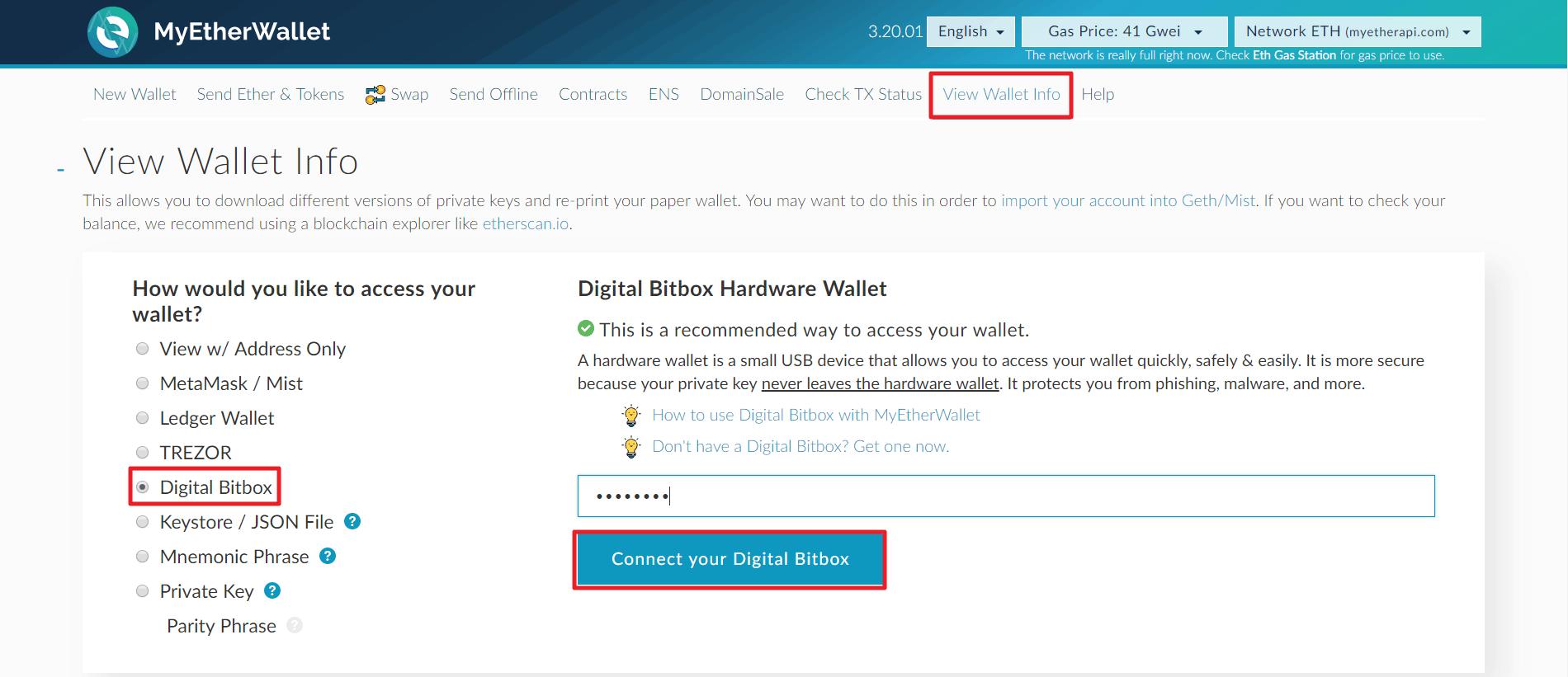 Digital Bitbox MyEtherWallet Integration 4