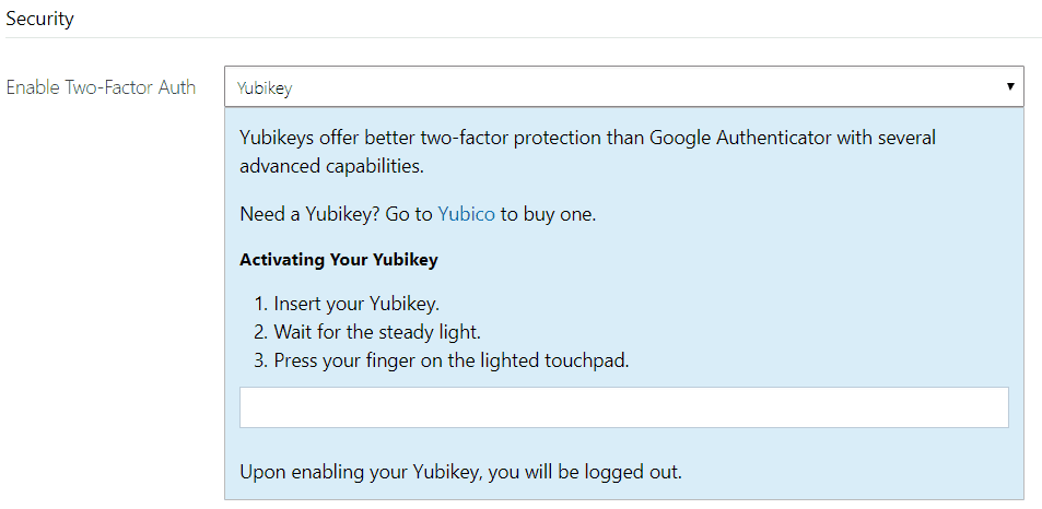 Bitmex Authentication / security Yubikey
