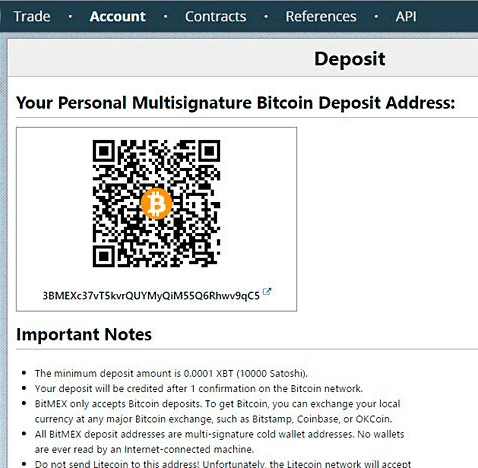 Bitmex - bitcoin address