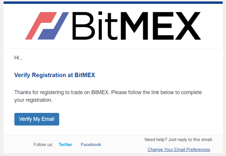 Bitmex - register application