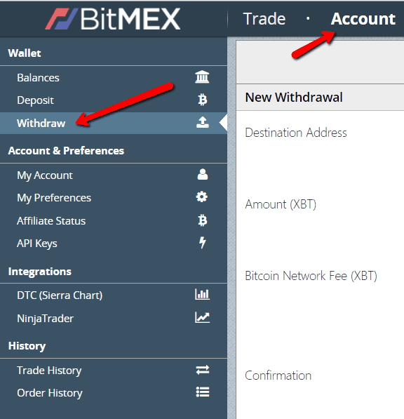 Bitmex Withdraw crypto