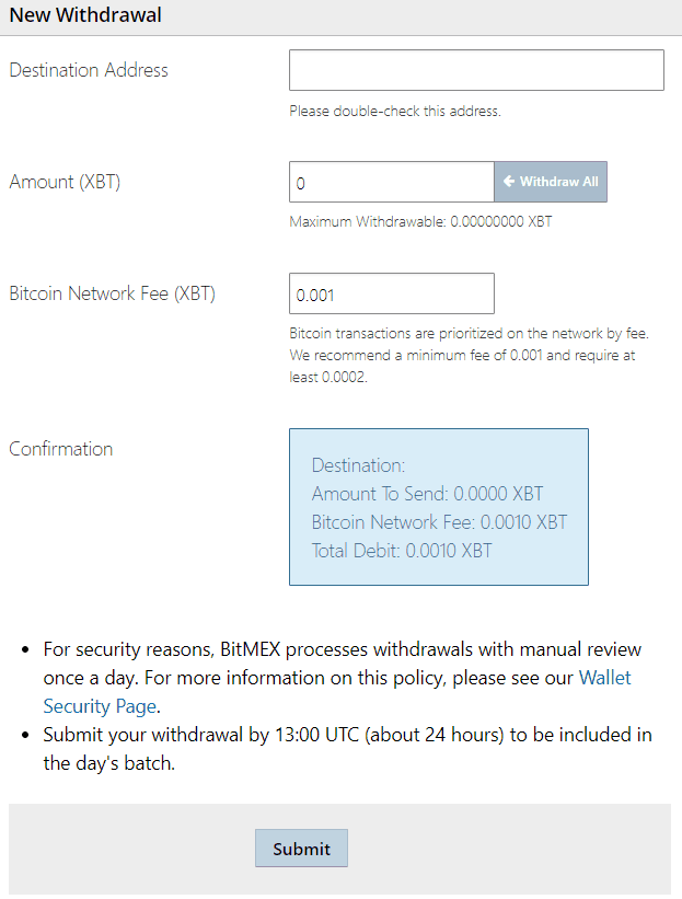 Bitmex Withdraw coins