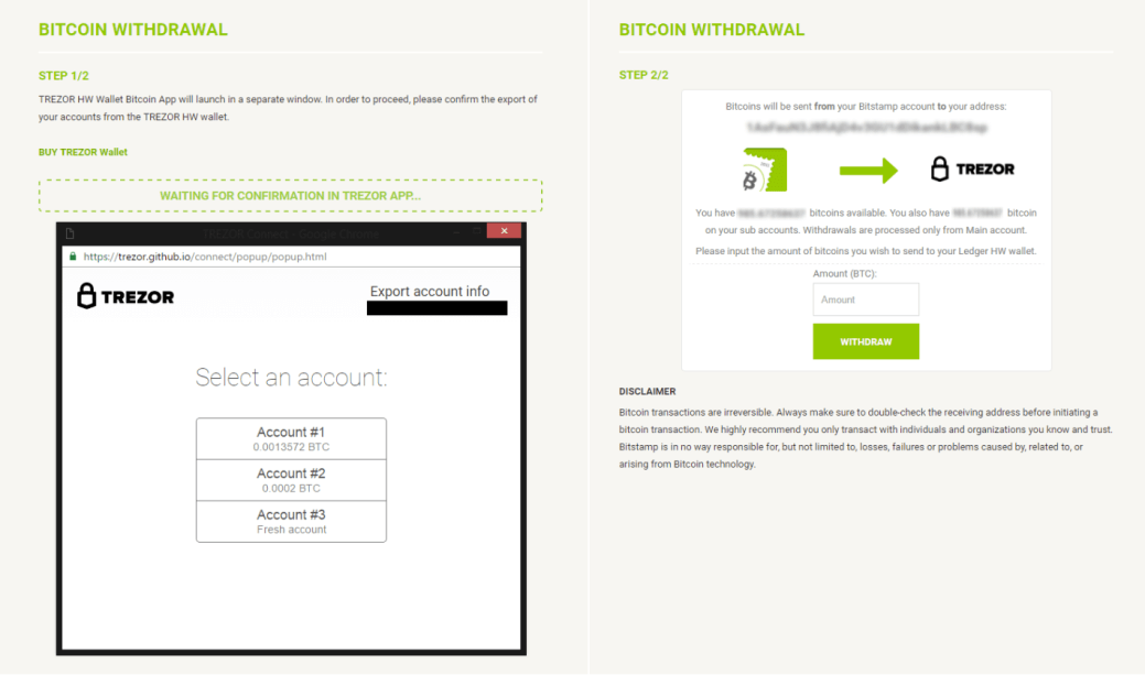 Bitstamp Withdraw money