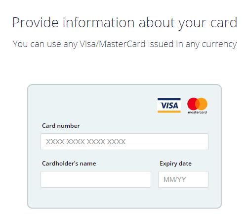 CEX exchange - buy bitcoin credit card