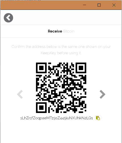 KeepKey Receive BTC 2