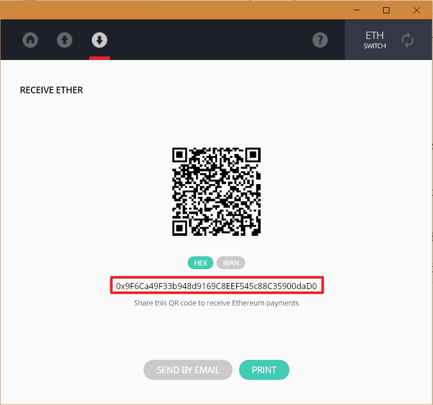 Ledger Receive Ether - QR code