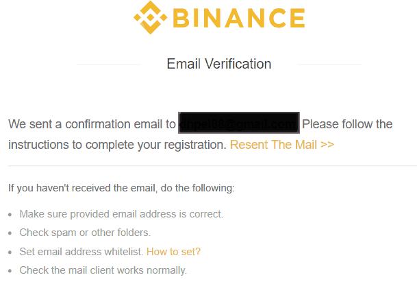 Binance email verification