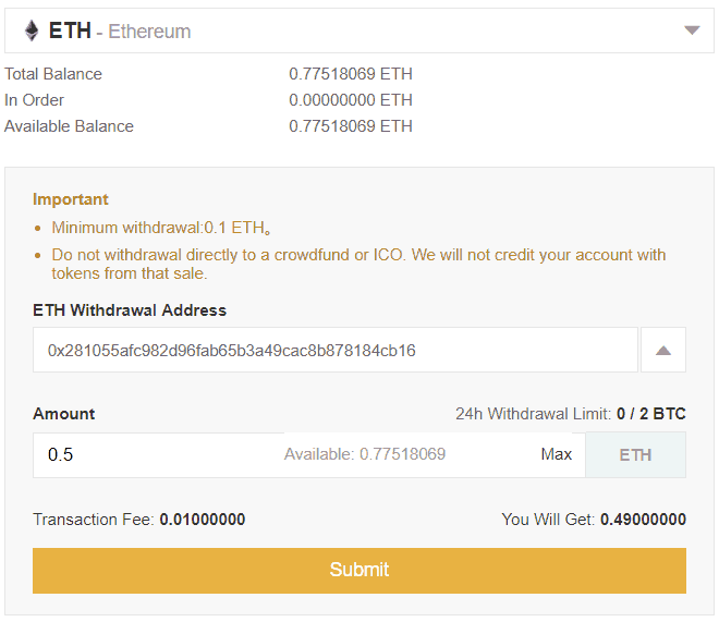 Binance - ETH withdrawal