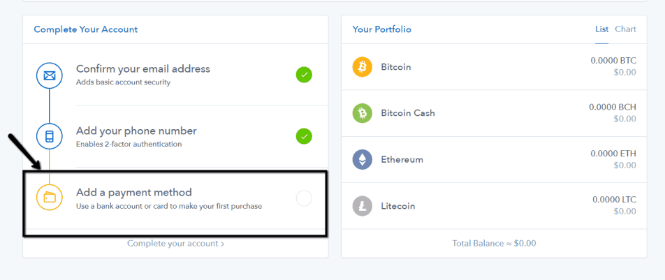 Coinbase - add payment method