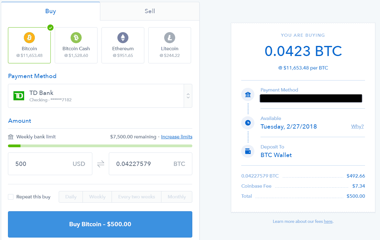 Coinbase - buy bitcoin