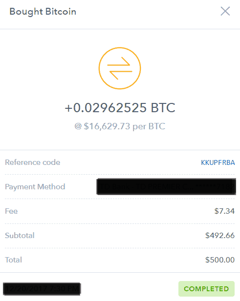 Coinbase - receipt - bought bitcoin