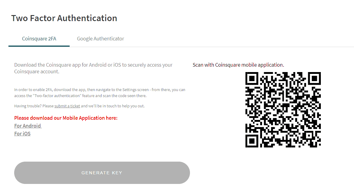 Coinsquare - Two Factor Authentication