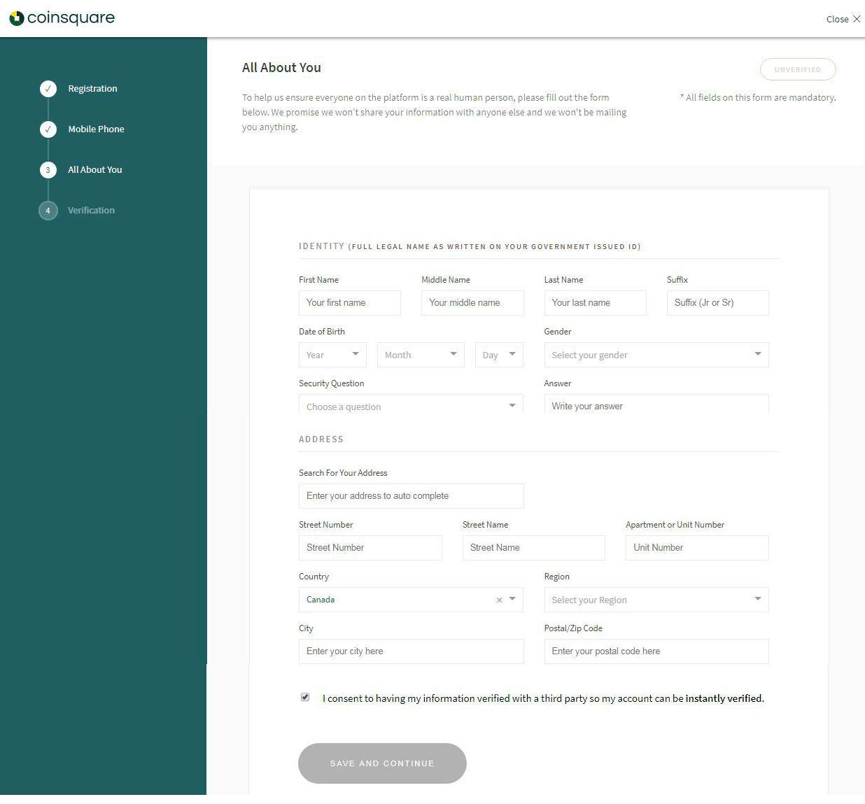 Coinsquare review - Coinsquare identity