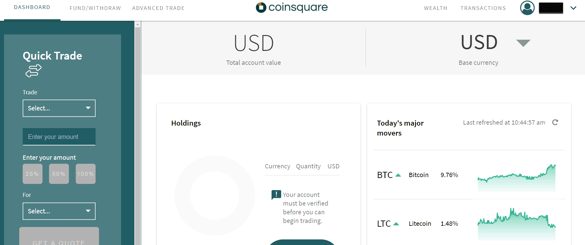 Coinsquare review - Coinsquare interface