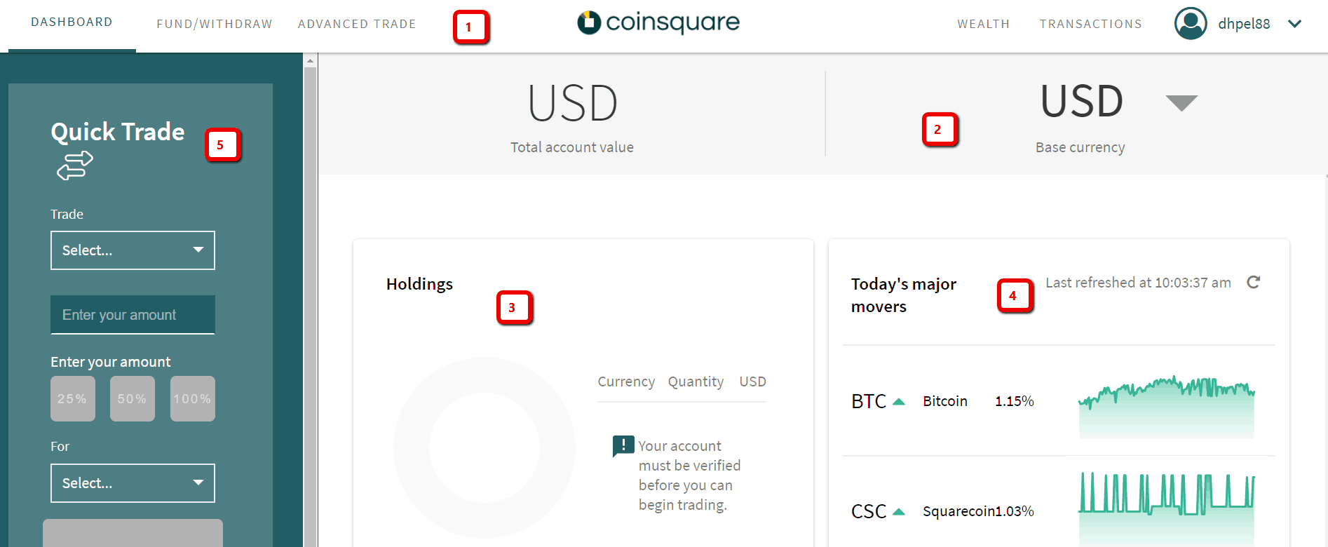 Coinsquare - Trading interface
