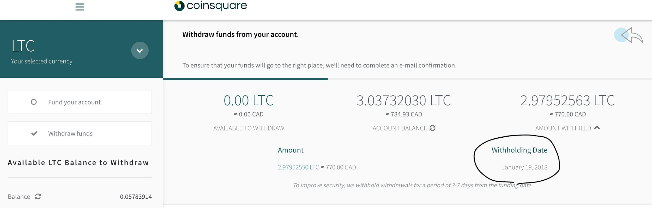 Coinsquare - withdraw funds