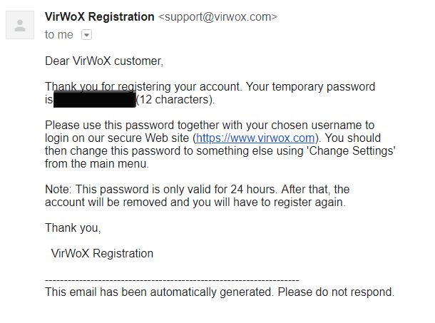 Virwox - confirmation email