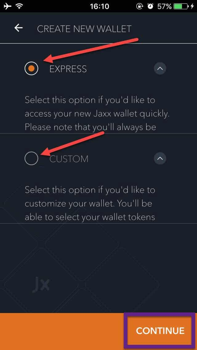 Jaxx - create new wallet app