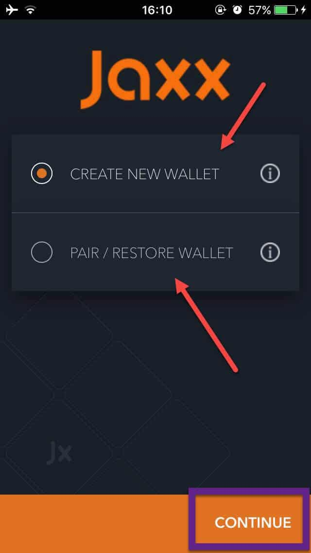 Jaxx Blockchain Wallet - how to create new wallet