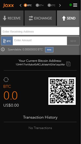 Jaxx - sending coins