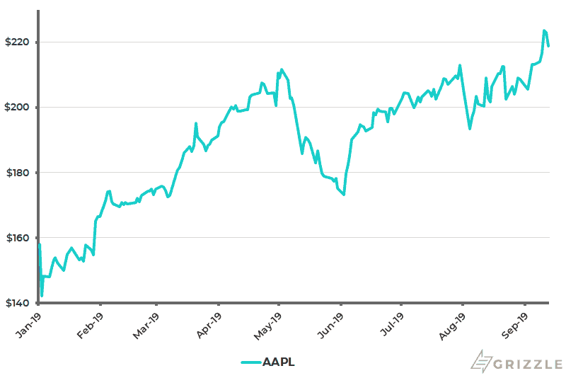 Apple Share Price YTD - Sep 15 2019